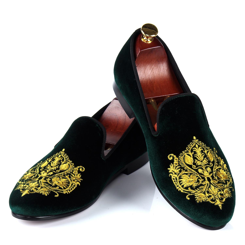 حذاء موكاسين مخملي أخضر للرجال ، حذاء كاجوال برنس ألبرت ، حذاء مطرز يدويًا