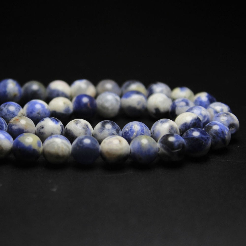 AAA + cuentas de piedra sodalita de Vena Azul y flor blanca Natural para fabricación de joyería DIY material para pulsera 4/6/8/10/12mm hebra 15,5