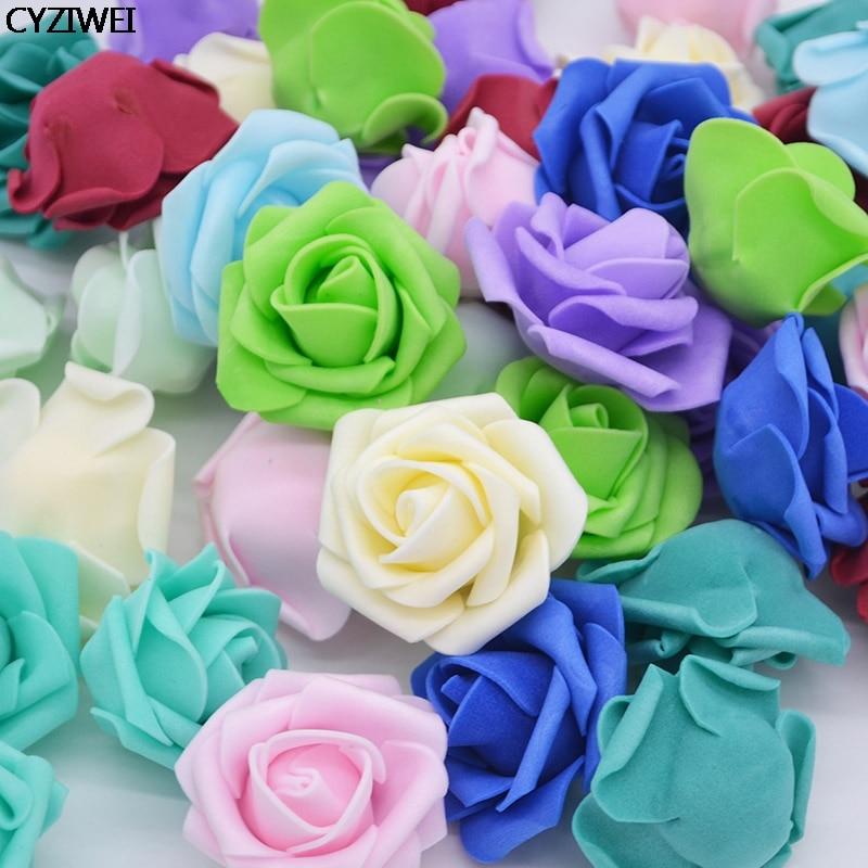 10-50 Uds. 4cm de espuma de PE falsa flor Rosa cabeza Artificial para boda cumpleaños fiesta casa guirnalda de bricolaje decoración guirnalda artesanal