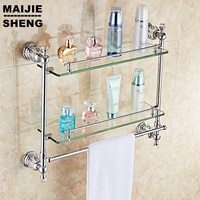chrome crystal Bathroom shower glass shelf bath shower shelf corner rack gold shower holder bathroom shelf commodity holder