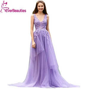 Evening Dresses Long V Neck Tulle Beading Elegant Party Gowns Formal Dress Evening Gowns Robe De Soiree Long Gown Evening