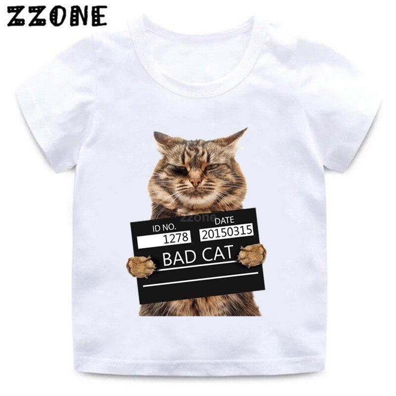 Camiseta divertida con estampado de gato malvado para niños, ropa de verano de manga corta para niños y niñas, camiseta informal con estampado Animal bonito para bebé, HKP2206