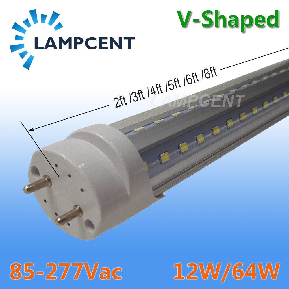 15-60PCS/Pack V Shape LED Tube Bulb 2FT 3FT 4FT 5FT 6FT T8 G13 Light Retrofit Fluorescent Lamp