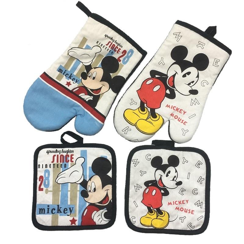 Guante para microondas Mickey Mouse, utensilios para hornear, guantes de horno de algodón azul y blanco 100% y alfombrilla para barbacoa o cocina
