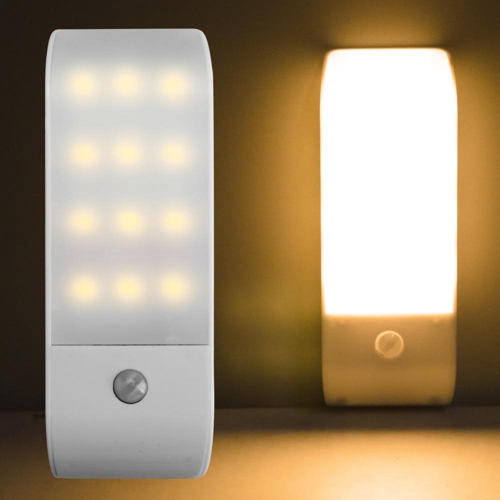 Sensor de movimiento por infrarrojos PIR USB recargable 12 LED luz nocturna inducción pasillo armario lámpara de noche de armario LED USB