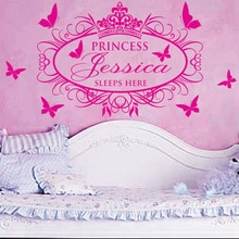 Stickers muraux princesse pour filles   Nouvelle collection de stickers muraux personnalisés avec nom de princesse pour chambres denfants, décoration murale pour la maison, décoration pour salon