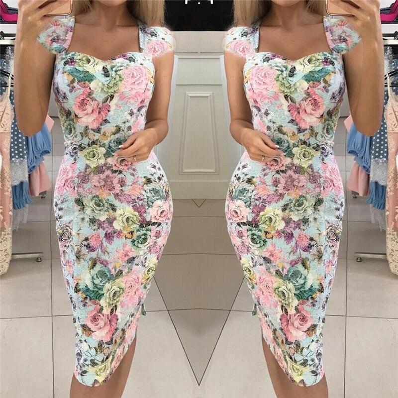 Fashion Women Sleeveless Floral Dress  Gown Party Beach Bandage Dress