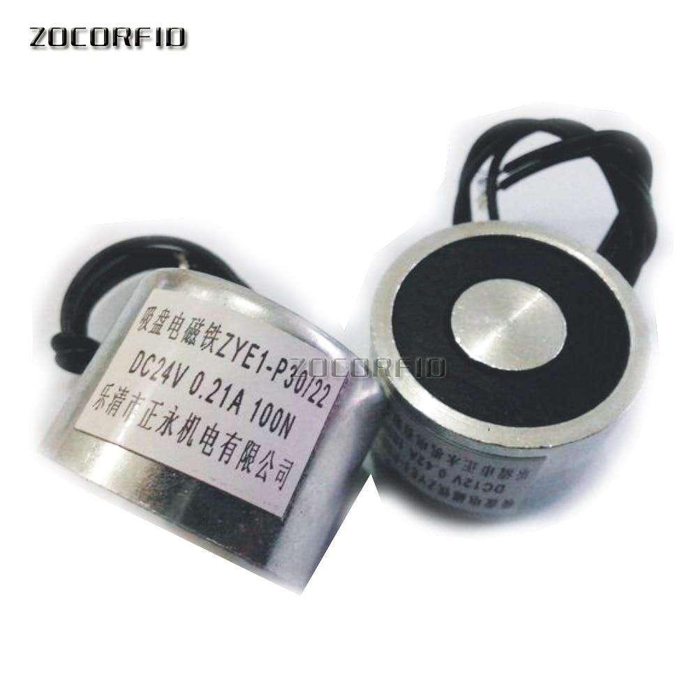 P30 22/10KG(100N succión electroimán solenoide DC redondo Electro sosteniendo imán Electro 12V 24V