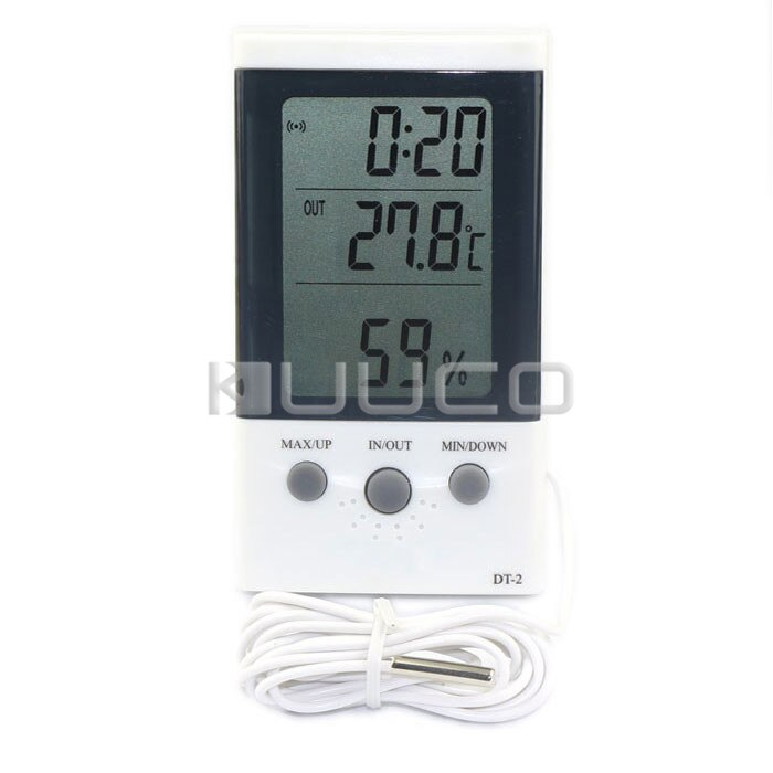 Digital tester 3in1 multifunções temperatura/umidade/tempo display lcd monitor medidor para carro/indoor/outdoor/estufa etc