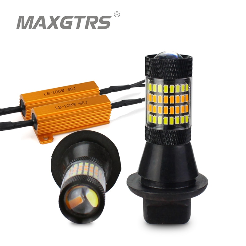 2x S25 P21W 1156 BA15S 96 SMD 3014 luz Led de coche Luz de circulación diurna + ámbar señal de giro Canbus DRL LED niebla luces externas