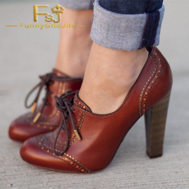المارون Oxfords كتلة عالية الكعب مضخات أحذية الدانتيل السيدات المرأة أمي جولة تو موضة أنيقة كبيرة الحجم 12 14 15 16 الربيع FSJ