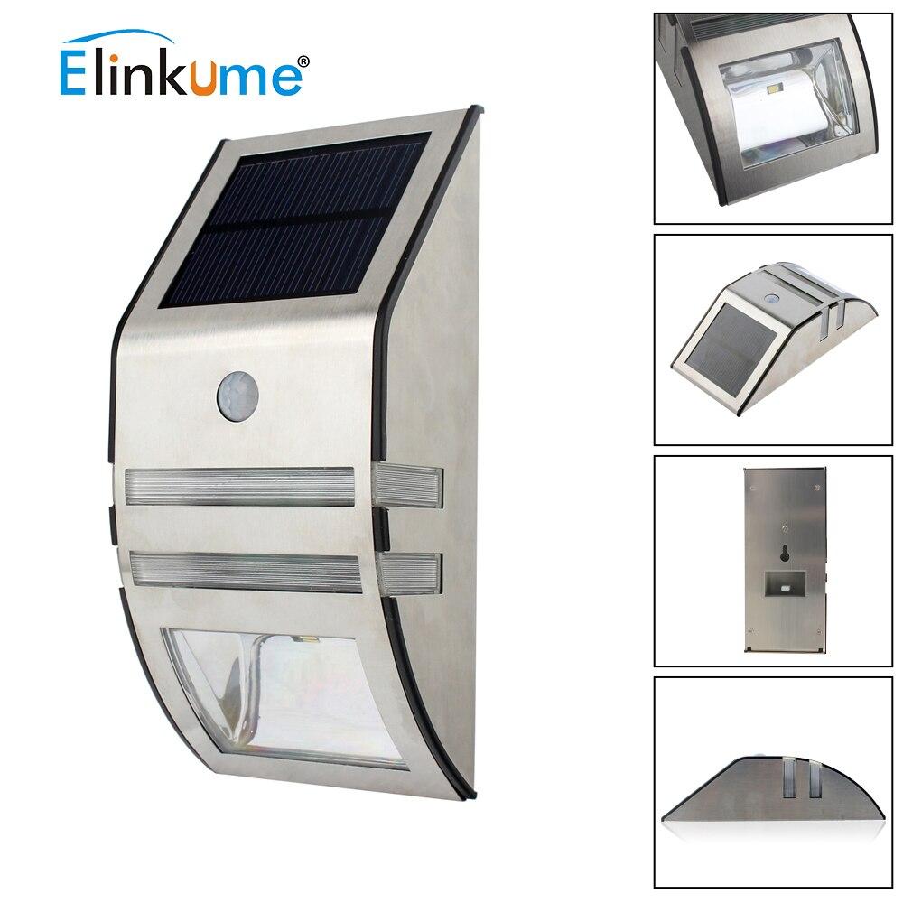 Elinkume impermeable 2 LED 120LM PIR Solar lámpara con sensor de movimiento jardín al aire libre de la pared de la vía balcón porche cerca luces