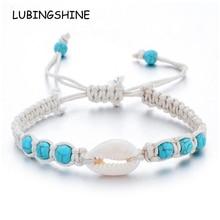 Bracelets étoile de mer en pierre naturelle tressé réglable chaîne de corde Bracelet Bracelet de cheville à la main vacances plage bijoux