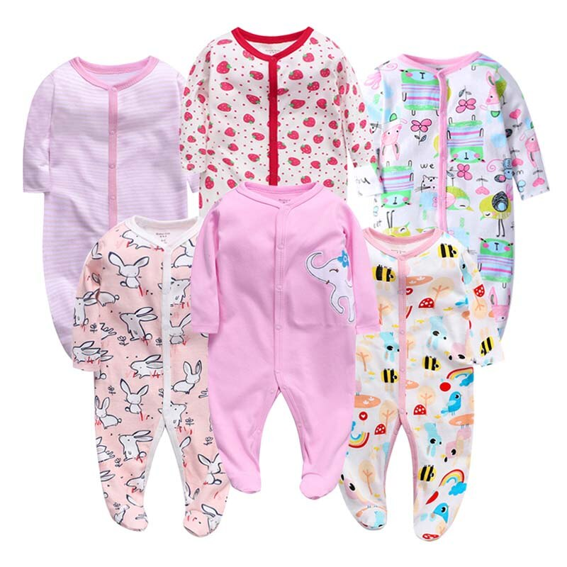 6PCS/LOT Baby Rompers  Long Sleeve 100%Cotton overalls Newborn clothes Roupas de bebe boys girls jumpsuit&clothing