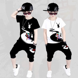 Children's Summer Boys' Clothes 2019 New Summer Short-sleeve Shirts Two-piece Sets Cotton teenage size 110 120 130 150 160