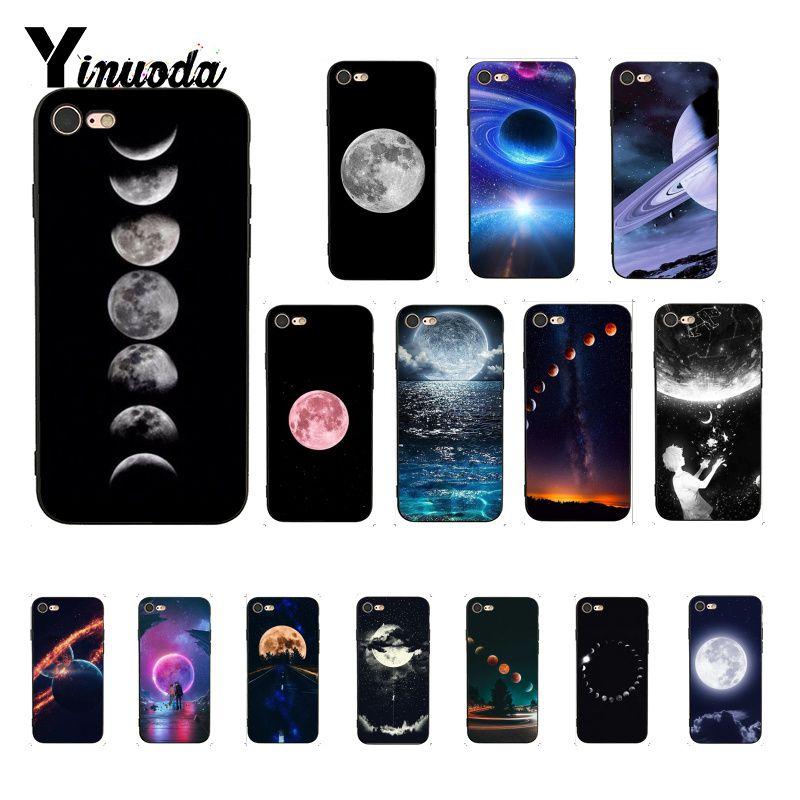 Yinuoda céu espaço planeta lua estrelas design exclusivo luxo phonecase para iphone 8 7 6 s 6 plus x xs max 5 5S se xr fundas capa