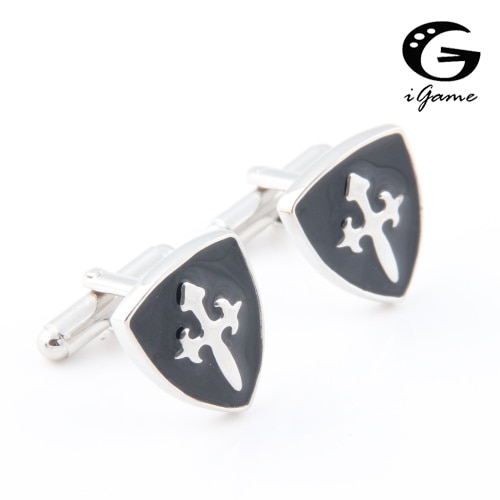 iGame Factory Price Retail Novelty Cuff Links For Men Fashion Copper Material Black Shield Design Fr