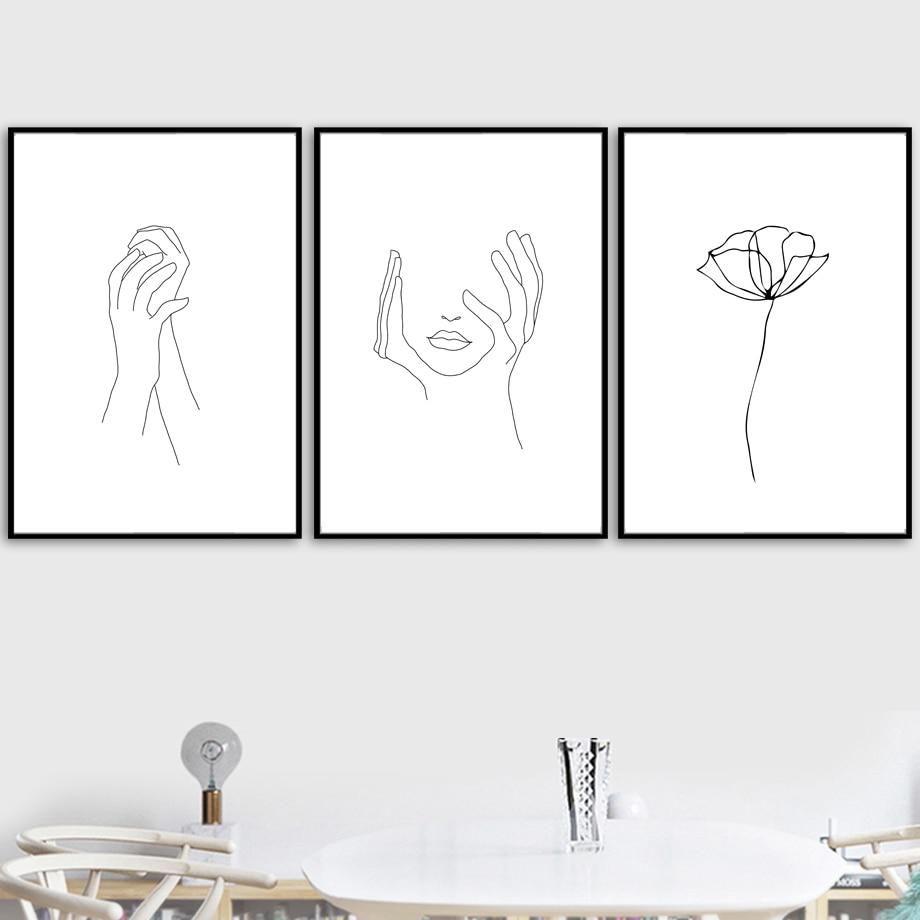 Mão Da Menina de Flor Pintura da Lona Arte Da Parede minimalista Nordic Cartazes E Impressões a Preto Branco Parede Pictures For Living Room Decor