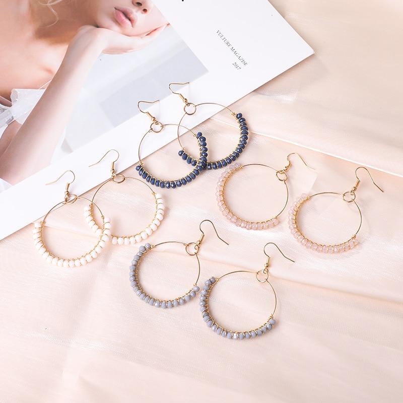 Boho Big Hoop Handmade Beaded Earrings Gold Hook Charm Jewelry for Women Gold Line Winding Glass Bead Long Section Drop Earring