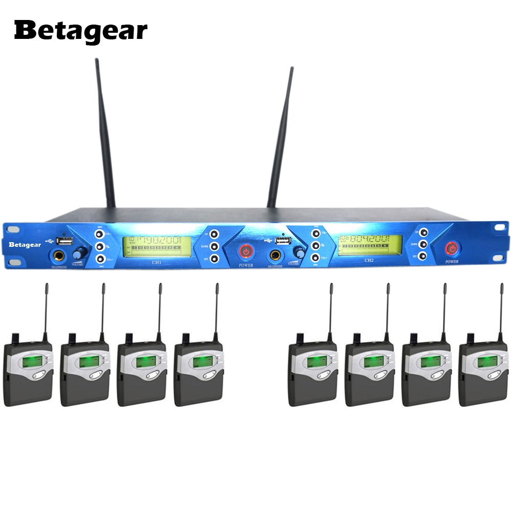 Профессиональный Сценический беспроводной монитор Betagear 8 приемников Двойной