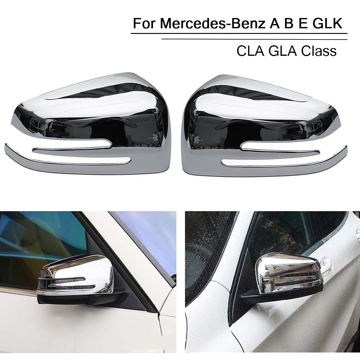 2pcs Right Left Car Rear View Mirror Cover For Mercedes for Benz A B E GLK CLA GLA Class Chrome