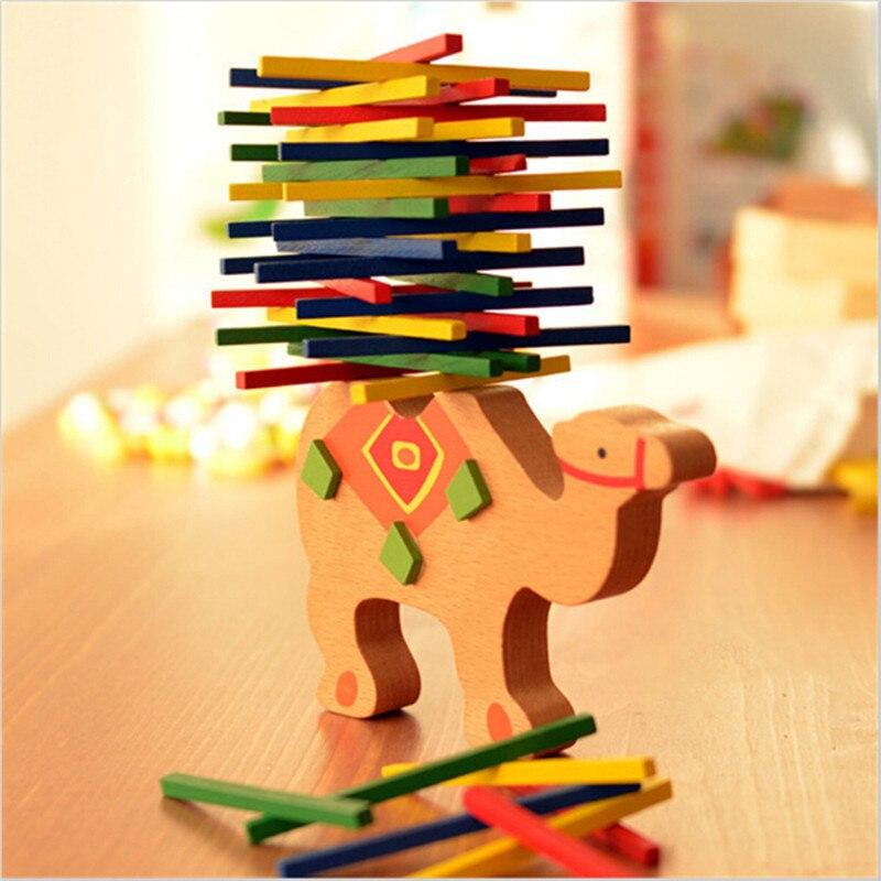 Обучающие игрушки для детей, балансирующие блоки в виде слона/верблюжьего верблюжья, деревянные игрушки, деревянные балансирующие игровые блоки Монтессори, подарок для детей, MU881831
