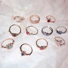 MENGJIQIAO 2019 New Korean Sweet Heart Flower Cubic Zircon Adjustable Rings For Women Girls Fashion Party Crystal Bague Jewelry