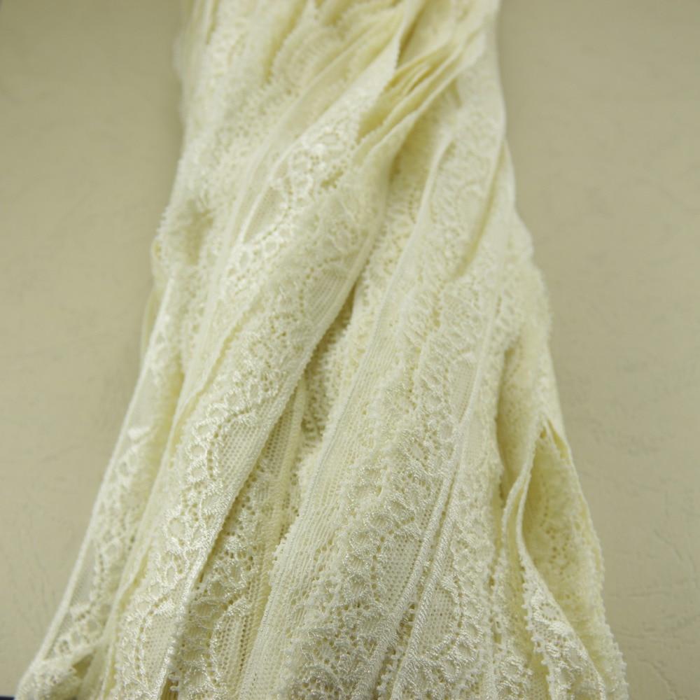 145 yardas 19mm ancho color crema elástico costura con adornos de encaje accesorios de diadema H23 (1)