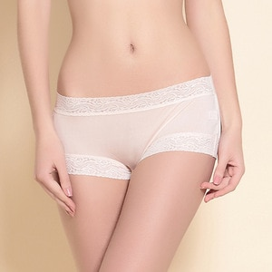 2019 New Women Underwear Boxers Mid Waist 100% Real Silk Double-sided Knitting Underwear Female Panties Boyshort Lace Boxers