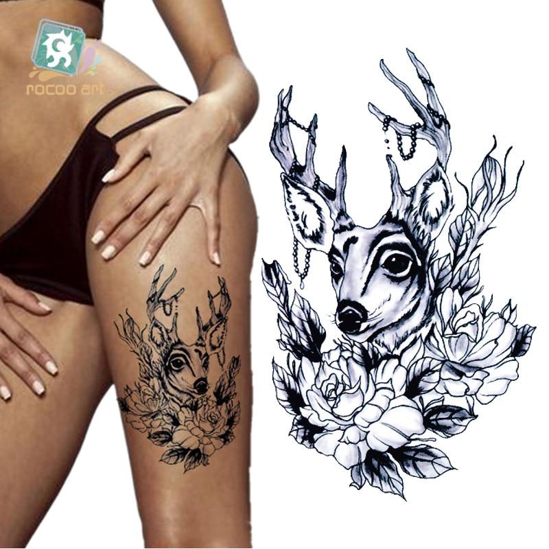 MC709-760 19X12cm HD tatuaje adhesivo Sexy mujeres negras ciervo mujeres sirena tatuaje temporal pegatinas tatuaje tatuajes
