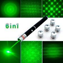 Najwyższej jakości 6in1 5mw 650nm czerwony zielony niebieski laser wskaźnik laserowa latarka + 5 gwiazda czapki światło wiązki, przysłona, kalejdoskop