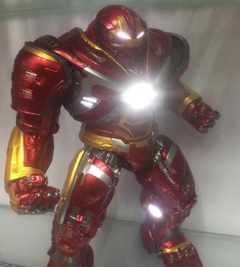Los vengadores de Marvel Hulkbuster con luz LED 20cm Ironman Hulk Super héroe PVC MODELO DE figura de acción juguetes con Cable de carga