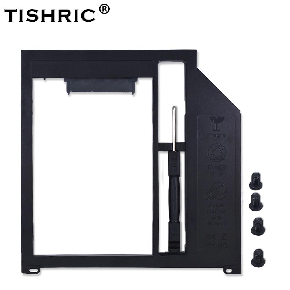 "Tishric plástico negro 2nd Hdd Caddy caja para Macbook Pro 13 ""15"" 17 ""Superdrive Optibay 9,5mm Sata 3,0 a 2,5 Ssd carcasa"