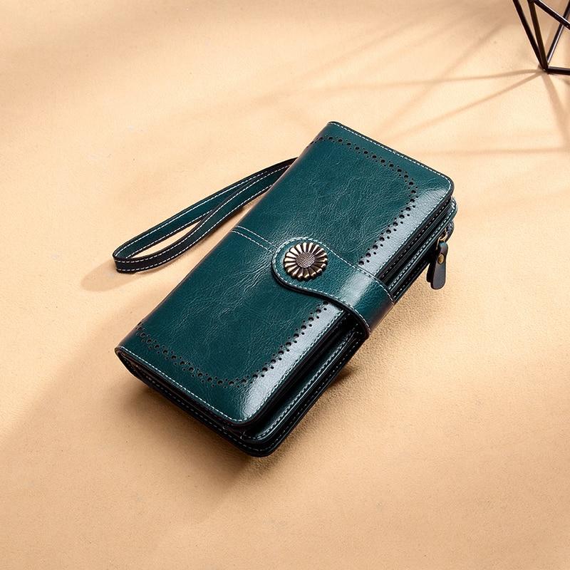 Aliwood Brand Hollow Women Clutch Leather Wallet Female Long Wallet Women Zipper Purse Strap Money Bag Purse For iPhone Carteira