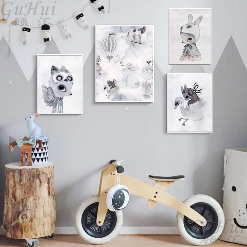 Скандинавские цветные Мультяшные качели, кролик, девочка, мальчик, лиса, облако, лебедь, холст, живопись, постер с ангелом, настенные фотогра...