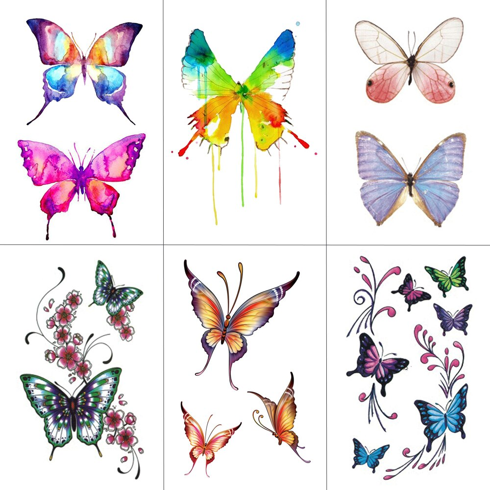 Tatuajes Temporales HXMAN de mariposa para mujer, tatuajes adhesivos para hombres, arte corporal a la moda para niños, Tatuaje falso a mano 10,5x6 cm A-075