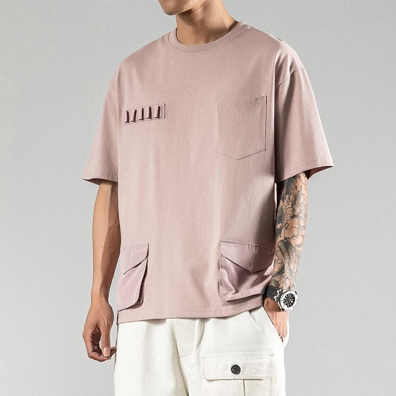 2020 sommer Casual Männer T Shirt Street Taschen Herren T Shirts Kurzarm Mann T Hemd Homme