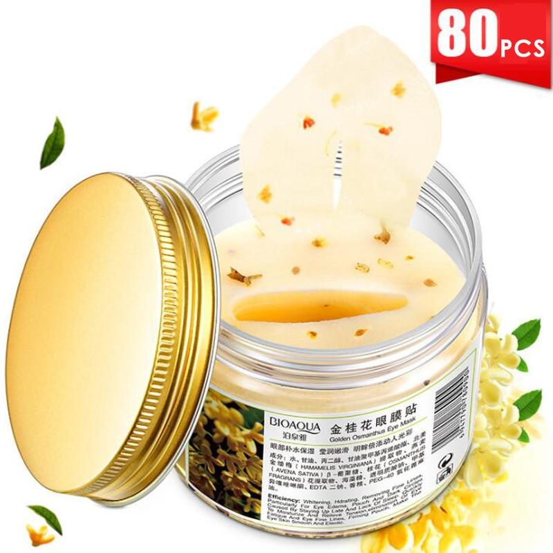 3 garrafas bioaqua ouro osmanthus máscara de olho feminino colágeno gel soro de leite proteína rosto cuidados com o sono remendos saúde mascaras de dormir