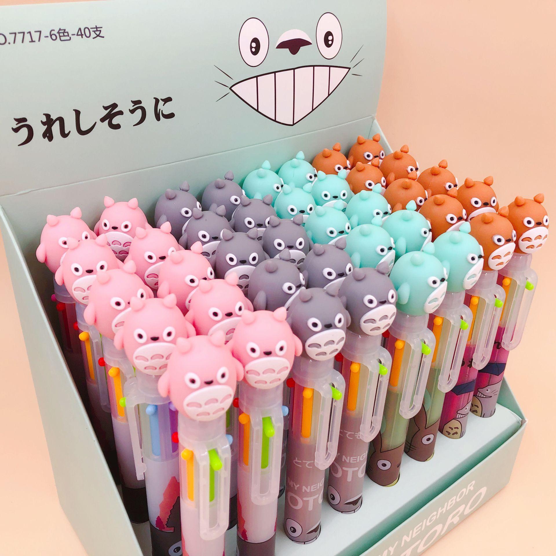 18 unids/lote Totoro cabeza de silicona dibujos animados 6 colores bolígrafo grueso escuela Oficina suministro regalo papelería Escolar