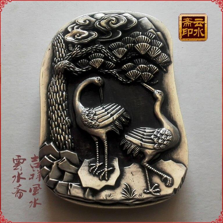 China antique silver handmade fine Miao stationery cover inkstone inkstone wheel crane