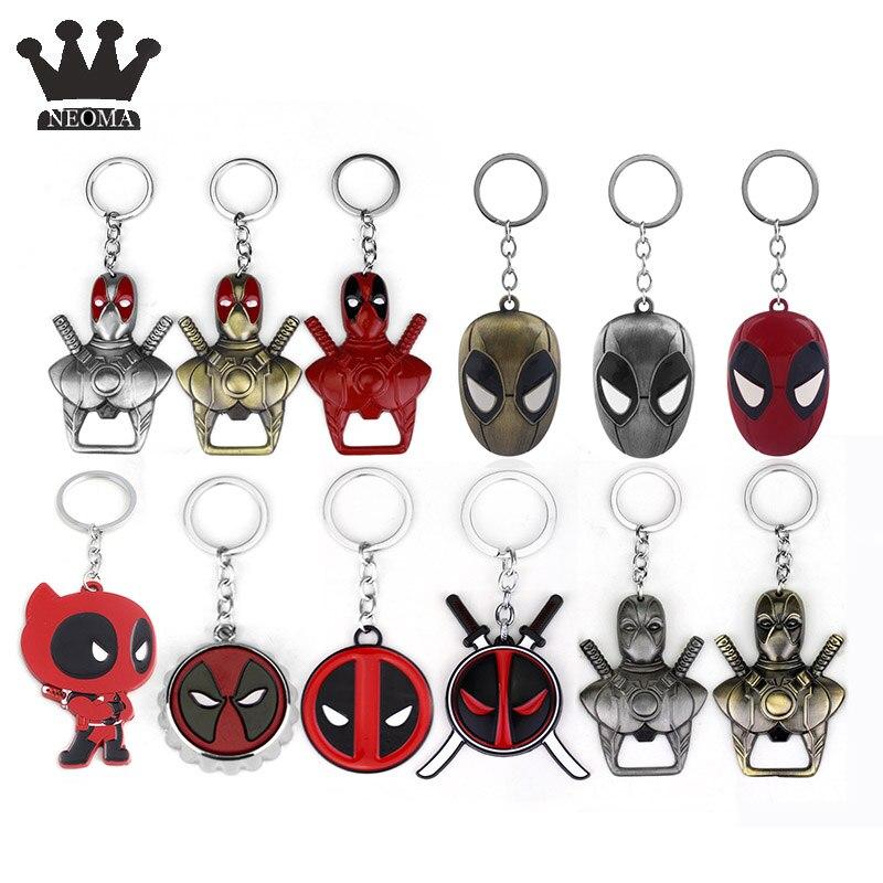 Llavero con máscara de cómic de Deadpool, llavero con abrebotellas esmaltado para hombre araña, regalo de joyería de recuerdo para hombre
