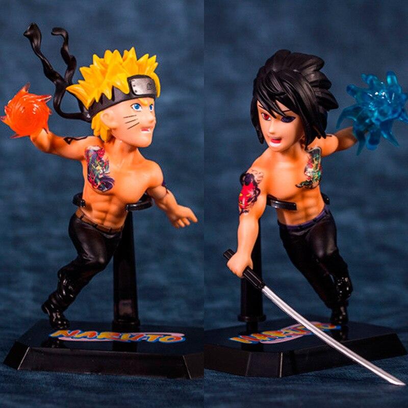 Figura de acción NARUTO Shippuden Uchiha Sasuke Uzumaki Naruto tatuaje Ver Modelo PVC niños colección juguete Brinquedos 15CM ES0