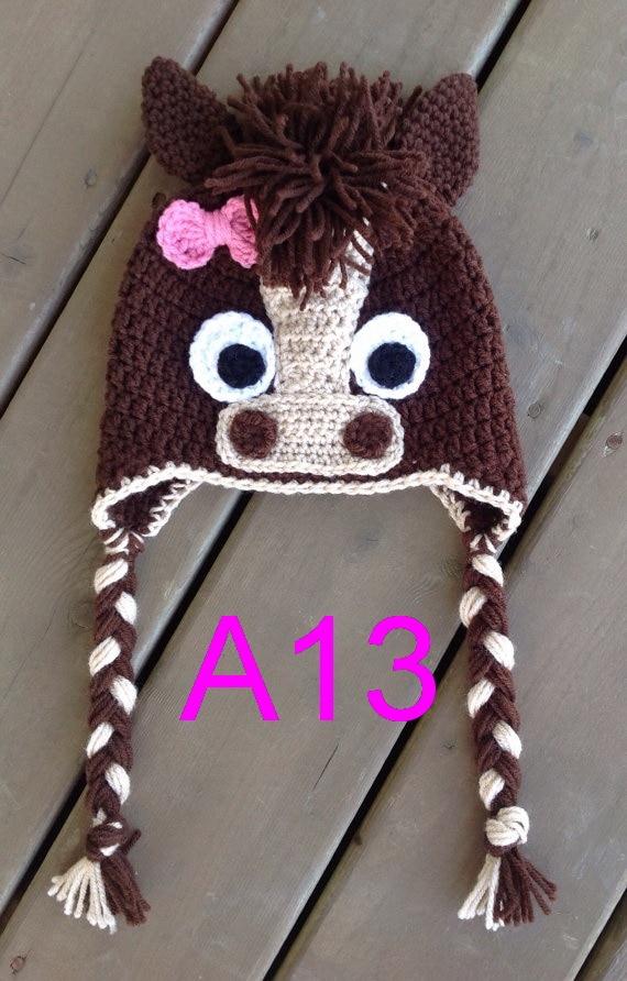 Envío Gratis 30 unids/lote caballo sombrero ganchillo bebé sombrero ganchillo sombreros para niños sombrero de caballo para niños 100% algodón NB-6years