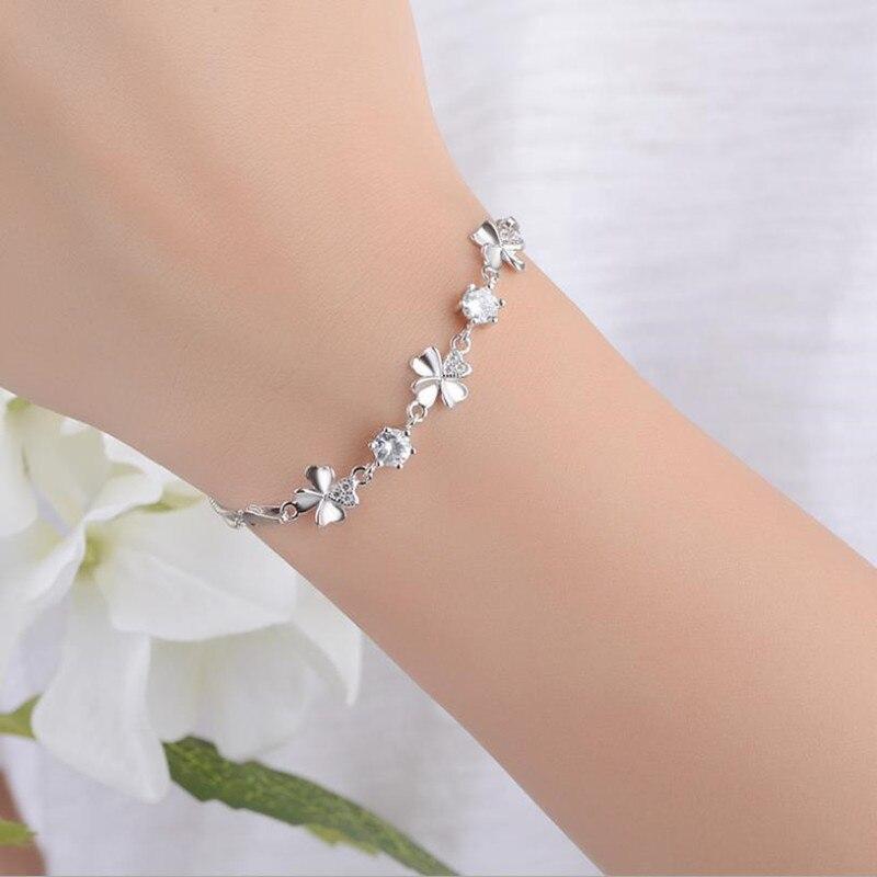 Nueva moda 925 plata esterlina joyería pulseras de mujer de alta calidad cristal trébol femenino tobilleras para chica fiesta Bijoux