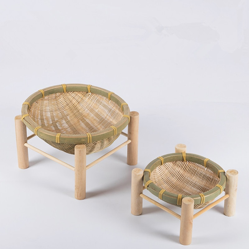 Handmade Woven Bamboo Fruit Basket Wicker Straw Food Bread Organizer Kitchen Storage Decorative Gift Small Dish Round Plate