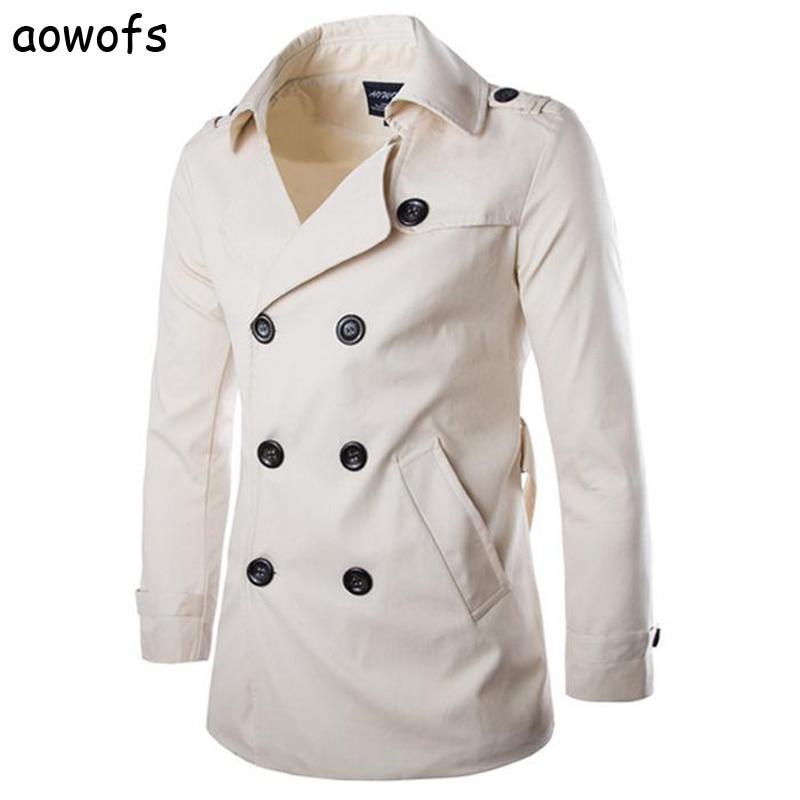 Moda 2020 Aowofs Comercio exterior hombre original 100% rompevientos de algodón doble-breasted abrigo de alta calidad Inglaterra trech