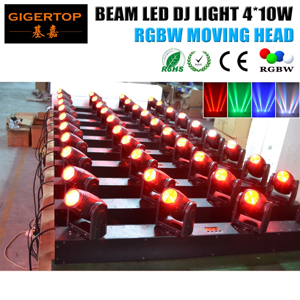 RGBW 4 رئيس تتحرك رئيس ضوء 4 قطع * 10 واط 4IN1 Led مصفوفة تتحرك رئيس ضوء Led شعاع المرحلة ضوء 13/39DMX CHs أدى شريط شعاع ضوء