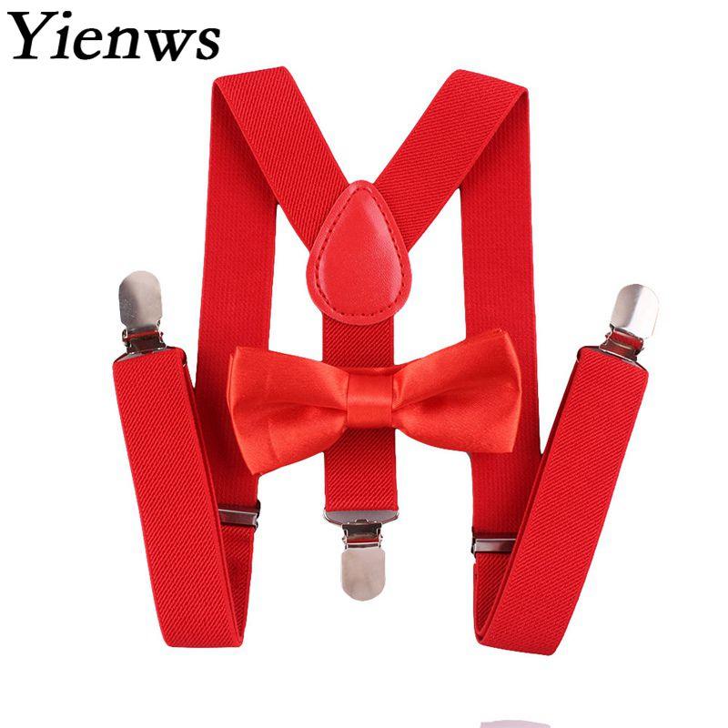 Yienws Suspensorio pajarita suspensores para Mujeres Hombres mariposa tirantes rojo rosa Breteles chicos Jartiyer niños Szelki YiA095