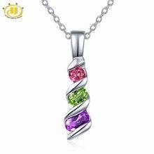 Hutang femmes pendentif pierre naturelle améthyste péridot grenat solide 925 Sterling argent chaîne Fine élégant coloré bijoux