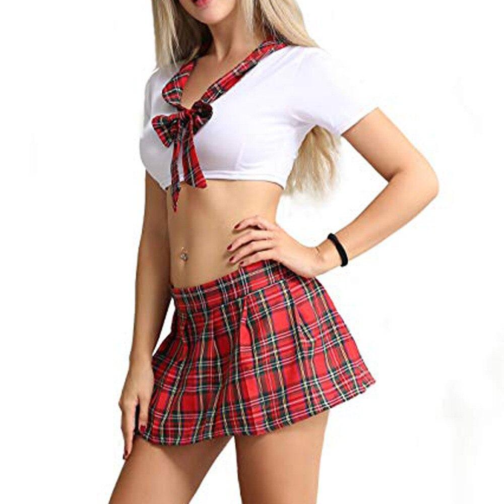 Lencería sexi para mujer, ropa interior de uniforme porno, tentación erótica, ceñida, lazo de encaje, corbata, estudiante, juego provocativo, uniformes H4